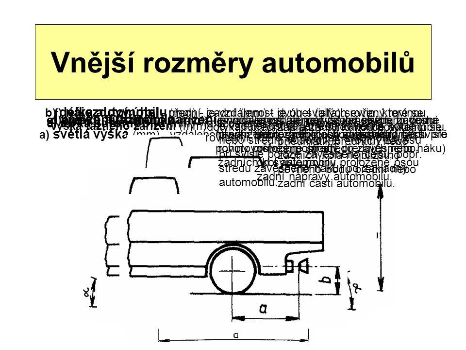 Vnější rozměry automobilů a) světlá výška (mm) - vzdálenost nejnižšího pevného bodu střední části automobilu od základny. b) délka automobilu (mm) - j