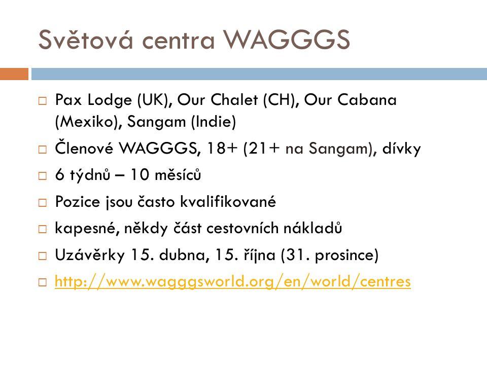 Světová centra WAGGGS  Pax Lodge (UK), Our Chalet (CH), Our Cabana (Mexiko), Sangam (Indie)  Členové WAGGGS, 18+ (21+ na Sangam), dívky  6 týdnů –