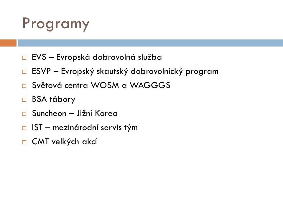 Programy  EVS – Evropská dobrovolná služba  ESVP – Evropský skautský dobrovolnický program  Světová centra WOSM a WAGGGS  BSA tábory  Suncheon –