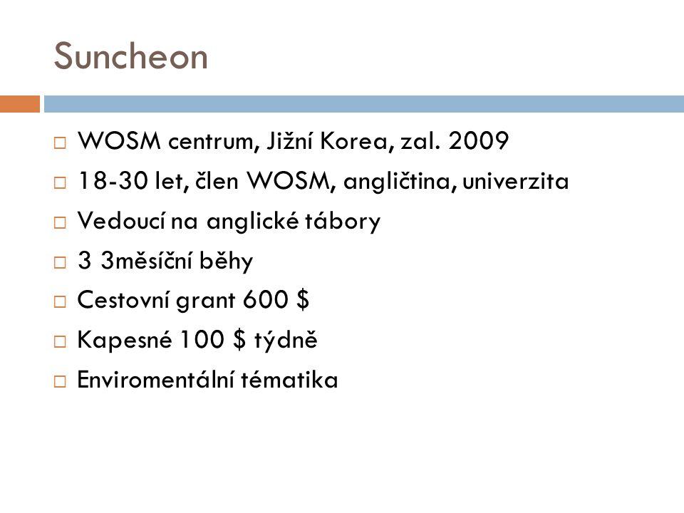 Suncheon  WOSM centrum, Jižní Korea, zal. 2009  18-30 let, člen WOSM, angličtina, univerzita  Vedoucí na anglické tábory  3 3měsíční běhy  Cestov