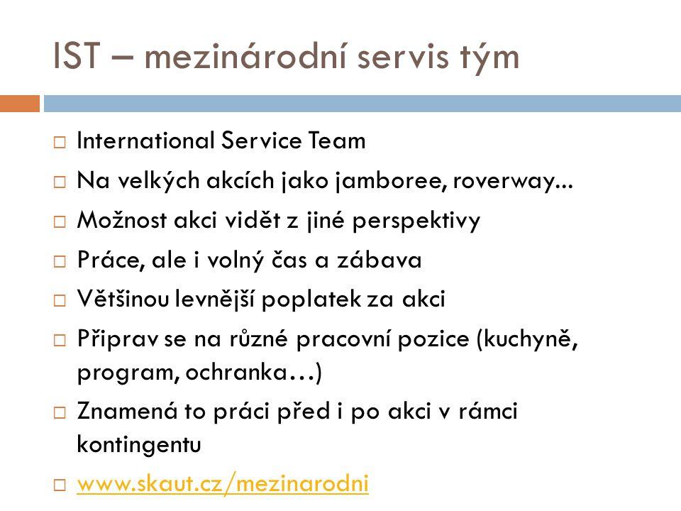 IST – mezinárodní servis tým  International Service Team  Na velkých akcích jako jamboree, roverway...  Možnost akci vidět z jiné perspektivy  Prá