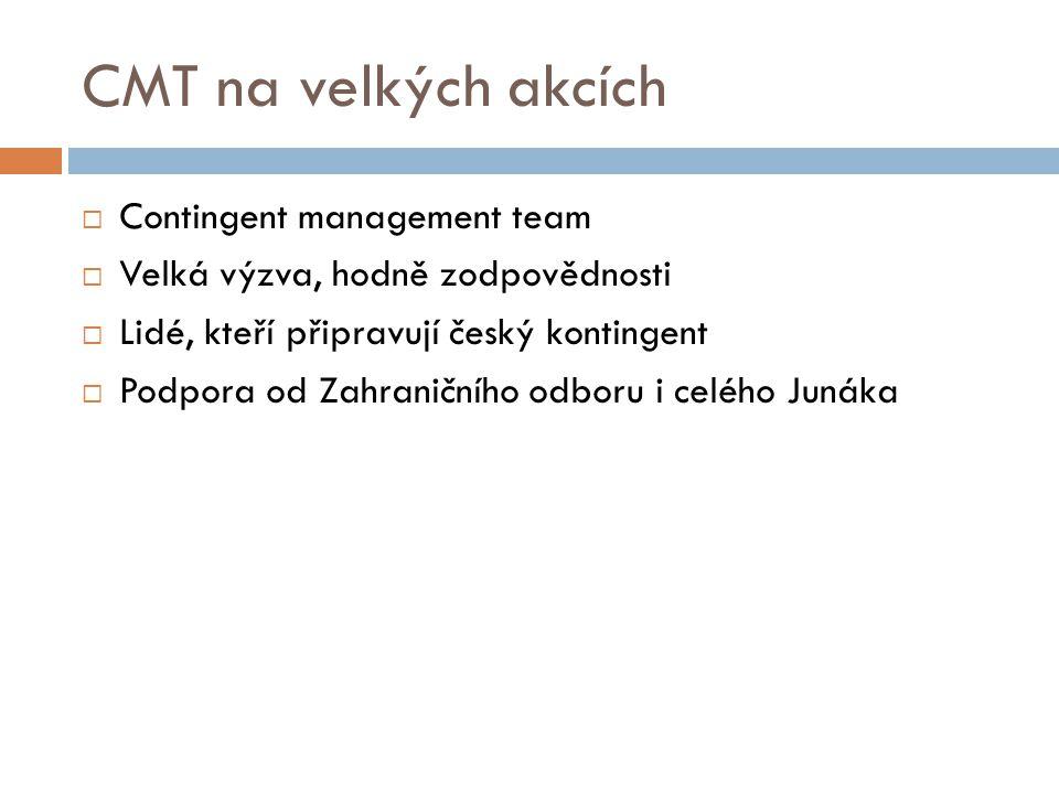 CMT na velkých akcích  Contingent management team  Velká výzva, hodně zodpovědnosti  Lidé, kteří připravují český kontingent  Podpora od Zahraničn