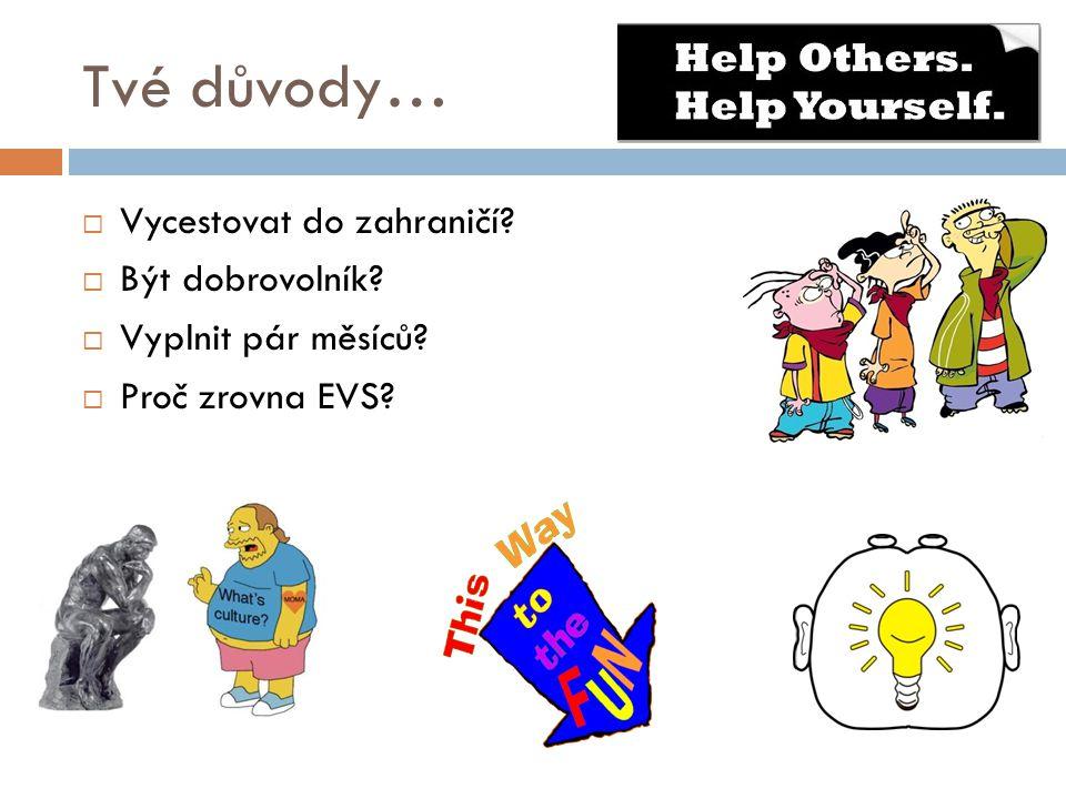 Tvé důvody…  Vycestovat do zahraničí?  Být dobrovolník?  Vyplnit pár měsíců?  Proč zrovna EVS?