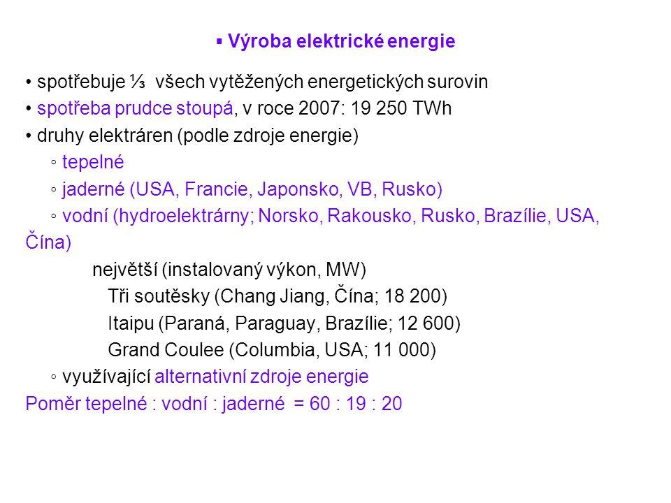 ▪ Výroba elektrické energie spotřebuje ⅓ všech vytěžených energetických surovin spotřeba prudce stoupá, v roce 2007: 19 250 TWh druhy elektráren (podl