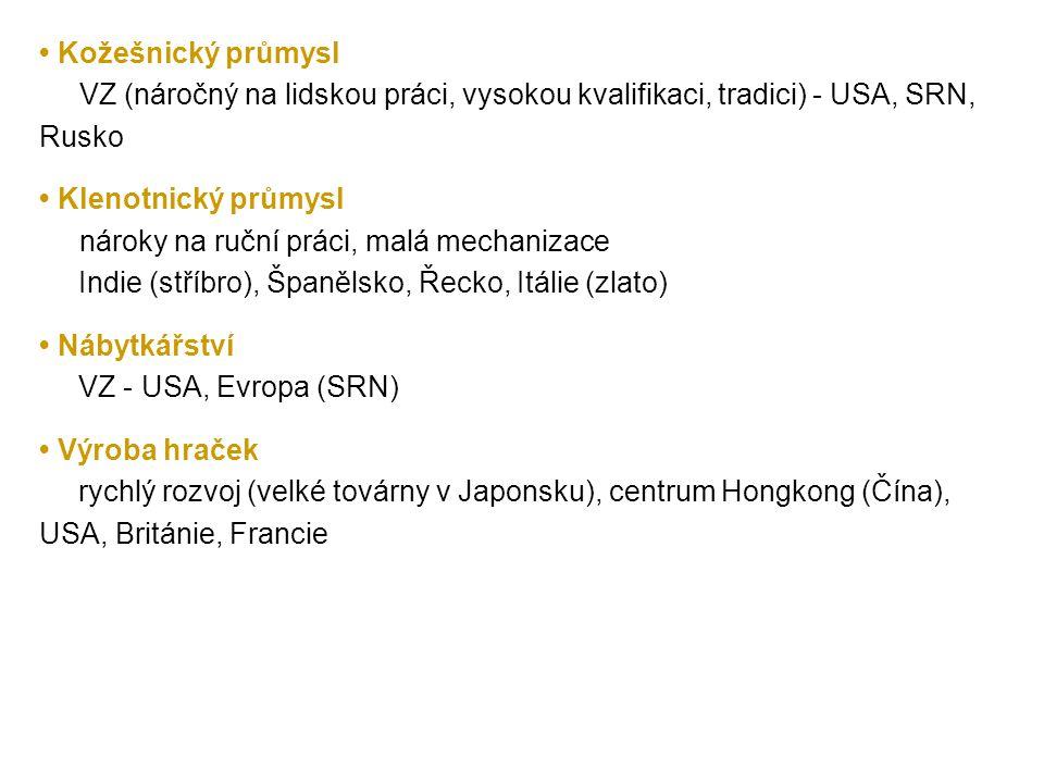 Kožešnický průmysl VZ (náročný na lidskou práci, vysokou kvalifikaci, tradici) - USA, SRN, Rusko Klenotnický průmysl nároky na ruční práci, malá mecha
