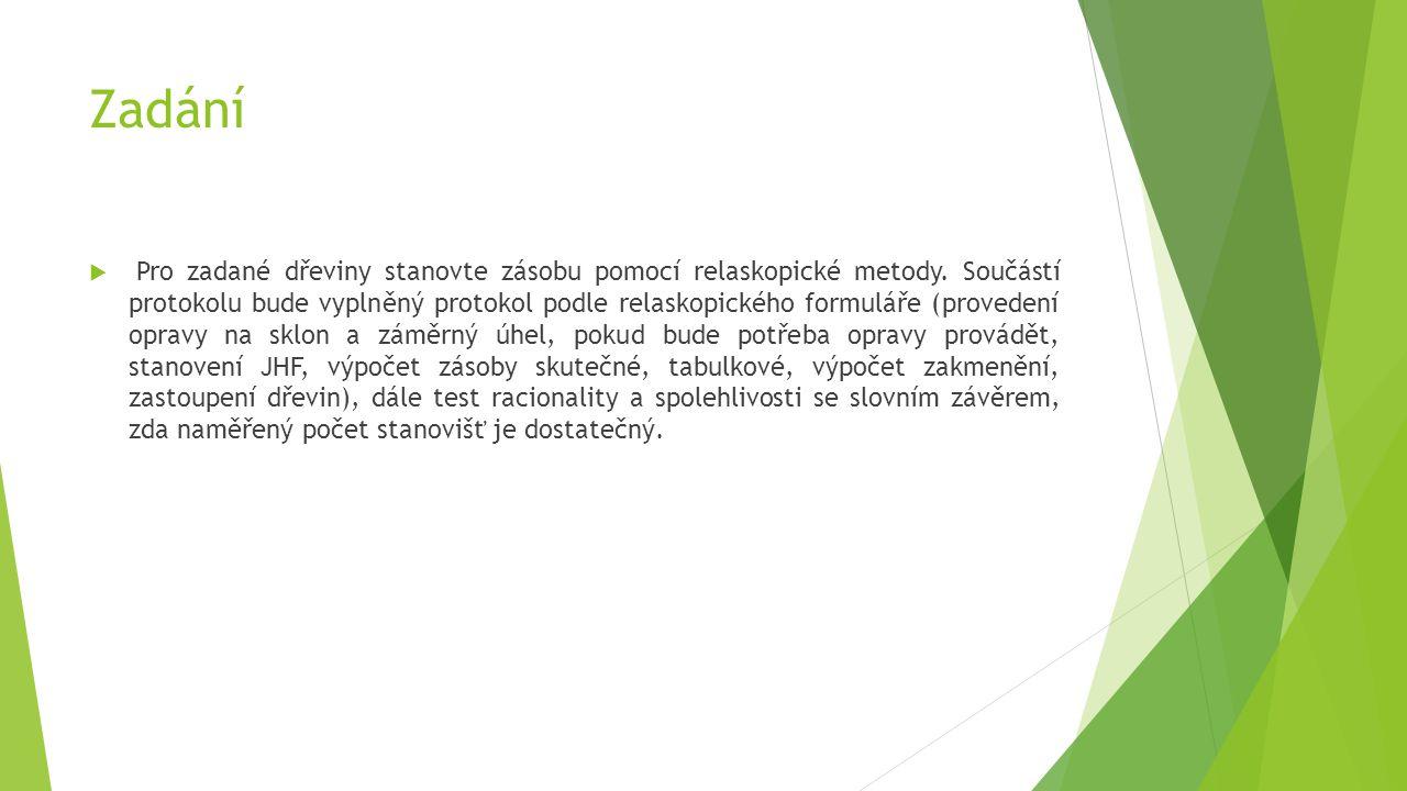 Zadání  Pro zadané dřeviny stanovte zásobu pomocí relaskopické metody. Součástí protokolu bude vyplněný protokol podle relaskopického formuláře (prov