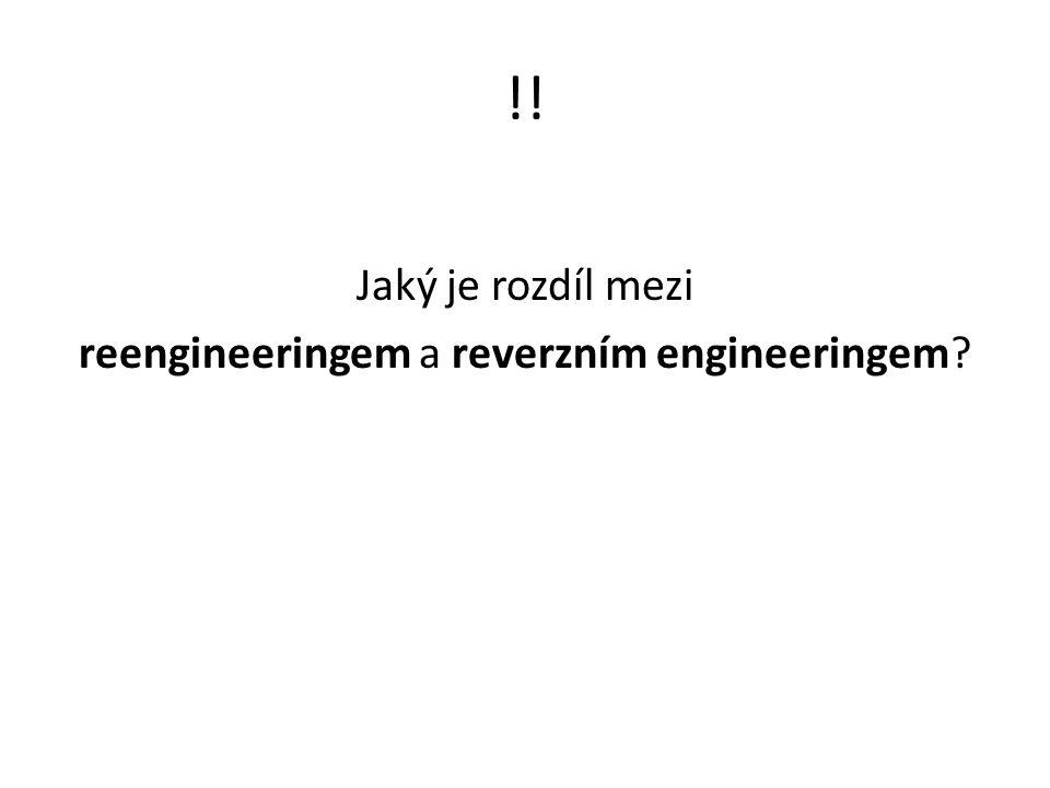 !! Jaký je rozdíl mezi reengineeringem a reverzním engineeringem?