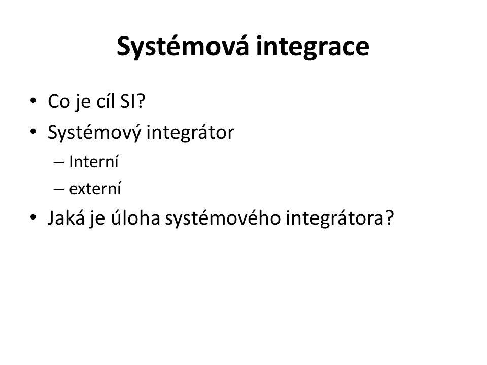 Důvody vzniku systémové integrace Obtížná zvládnutelnost informatických projektů Nízká až diskutabilní efektivnost řady informatických projektů Masové a přitom nekoncepční nasazování počítačů