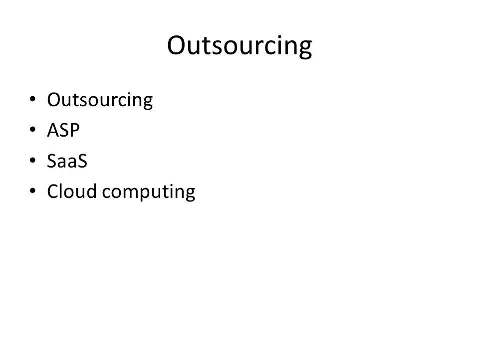 Outsourcing ASP SaaS Cloud computing