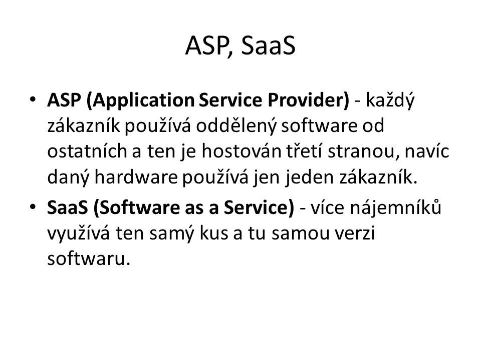 ASP, SaaS ASP (Application Service Provider) - každý zákazník používá oddělený software od ostatních a ten je hostován třetí stranou, navíc daný hardware používá jen jeden zákazník.