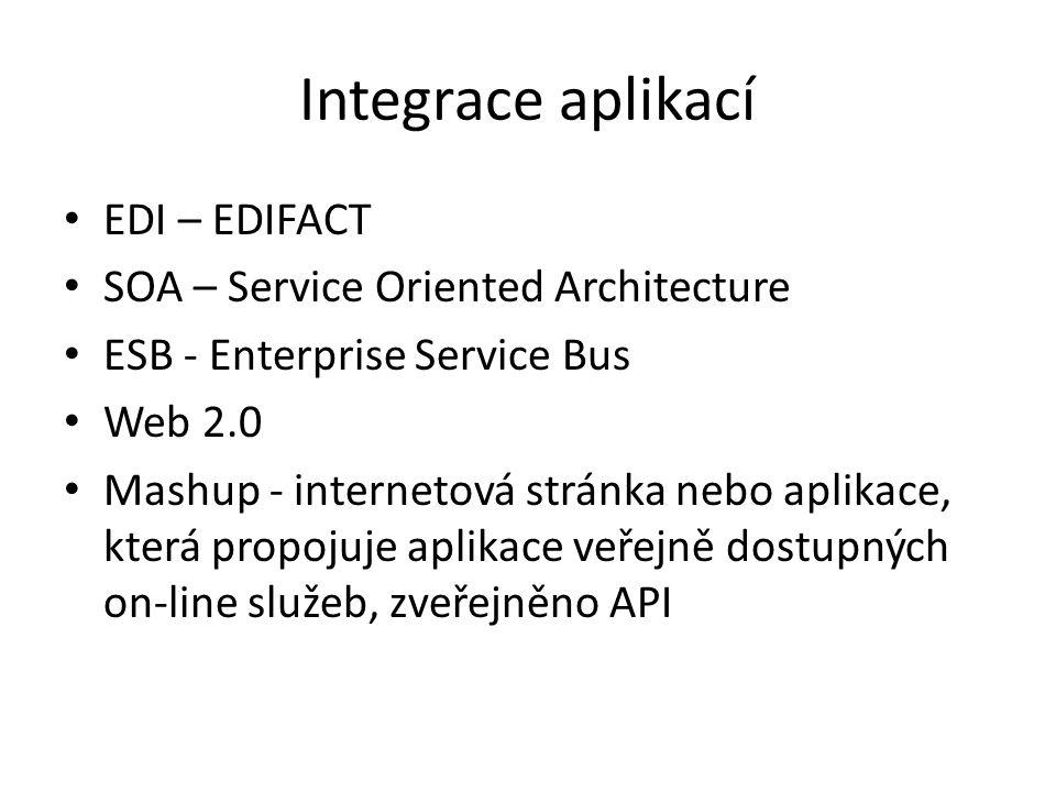 Integrace aplikací EDI – EDIFACT SOA – Service Oriented Architecture ESB - Enterprise Service Bus Web 2.0 Mashup - internetová stránka nebo aplikace, která propojuje aplikace veřejně dostupných on-line služeb, zveřejněno API