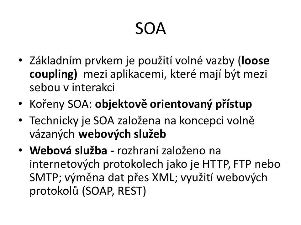 SOA Základním prvkem je použití volné vazby (loose coupling) mezi aplikacemi, které mají být mezi sebou v interakci Kořeny SOA: objektově orientovaný přístup Technicky je SOA založena na koncepci volně vázaných webových služeb Webová služba - rozhraní založeno na internetových protokolech jako je HTTP, FTP nebo SMTP; výměna dat přes XML; využití webových protokolů (SOAP, REST)