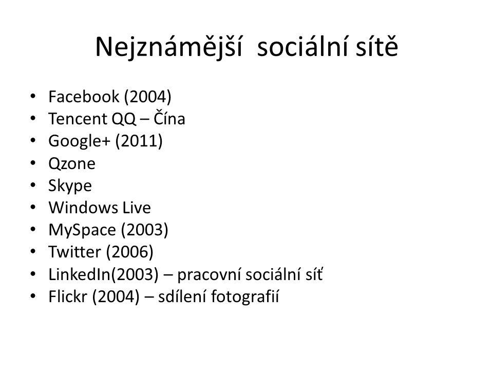 Nejznámější sociální sítě Facebook (2004) Tencent QQ – Čína Google+ (2011) Qzone Skype Windows Live MySpace (2003) Twitter (2006) LinkedIn(2003) – pracovní sociální síť Flickr (2004) – sdílení fotografií