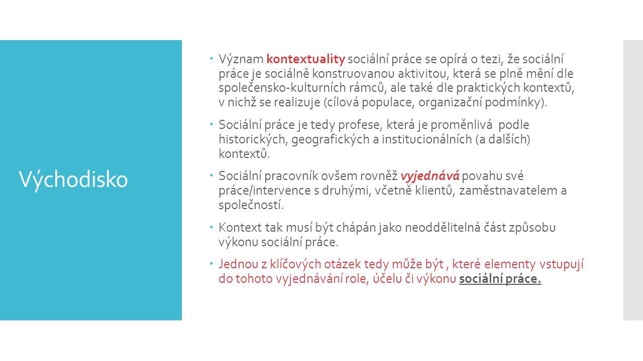 Východisko  Význam kontextuality sociální práce se opírá o tezi, že sociální práce je sociálně konstruovanou aktivitou, která se plně mění dle společ