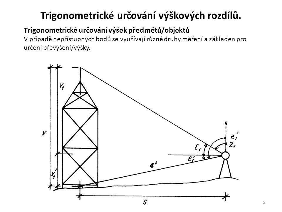 5 Trigonometrické určování výšek předmětů/objektů V případě nepřístupných bodů se využívají různé druhy měření a základen pro určení převýšení/výšky.