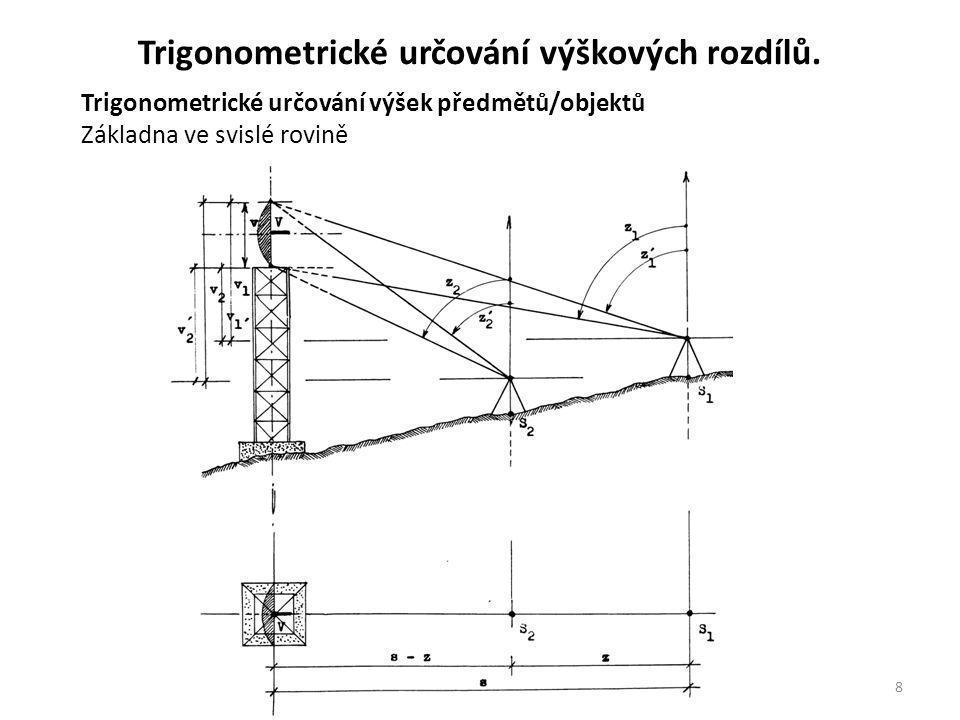 8 Trigonometrické určování výšek předmětů/objektů Základna ve svislé rovině Trigonometrické určování výškových rozdílů.