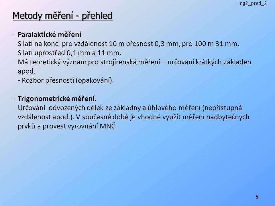 Metody měření - přehled -Paralaktické měření S latí na konci pro vzdálenost 10 m přesnost 0,3 mm, pro 100 m 31 mm.