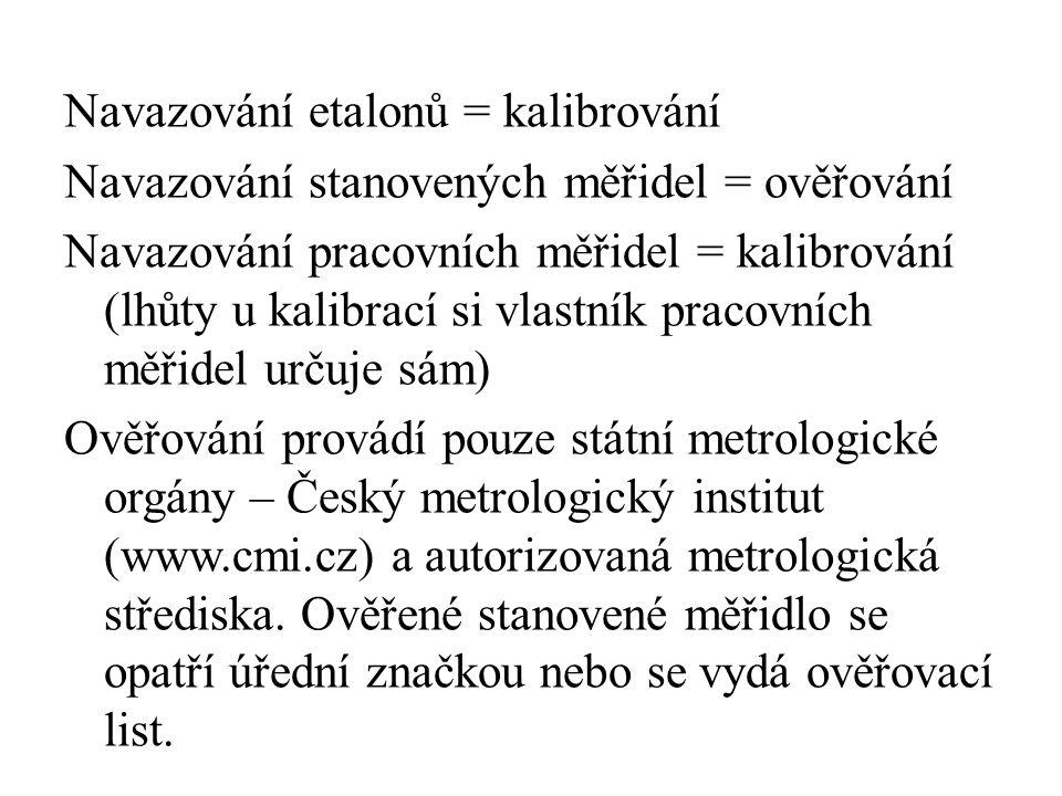Navazování etalonů = kalibrování Navazování stanovených měřidel = ověřování Navazování pracovních měřidel = kalibrování (lhůty u kalibrací si vlastník