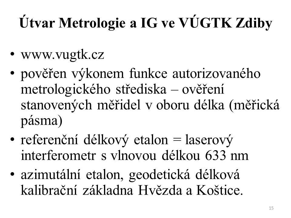 15 Útvar Metrologie a IG ve VÚGTK Zdiby www.vugtk.cz pověřen výkonem funkce autorizovaného metrologického střediska – ověření stanovených měřidel v ob