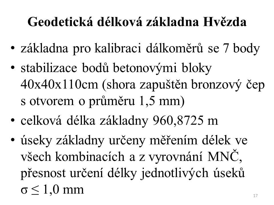 17 Geodetická délková základna Hvězda základna pro kalibraci dálkoměrů se 7 body stabilizace bodů betonovými bloky 40x40x110cm (shora zapuštěn bronzov