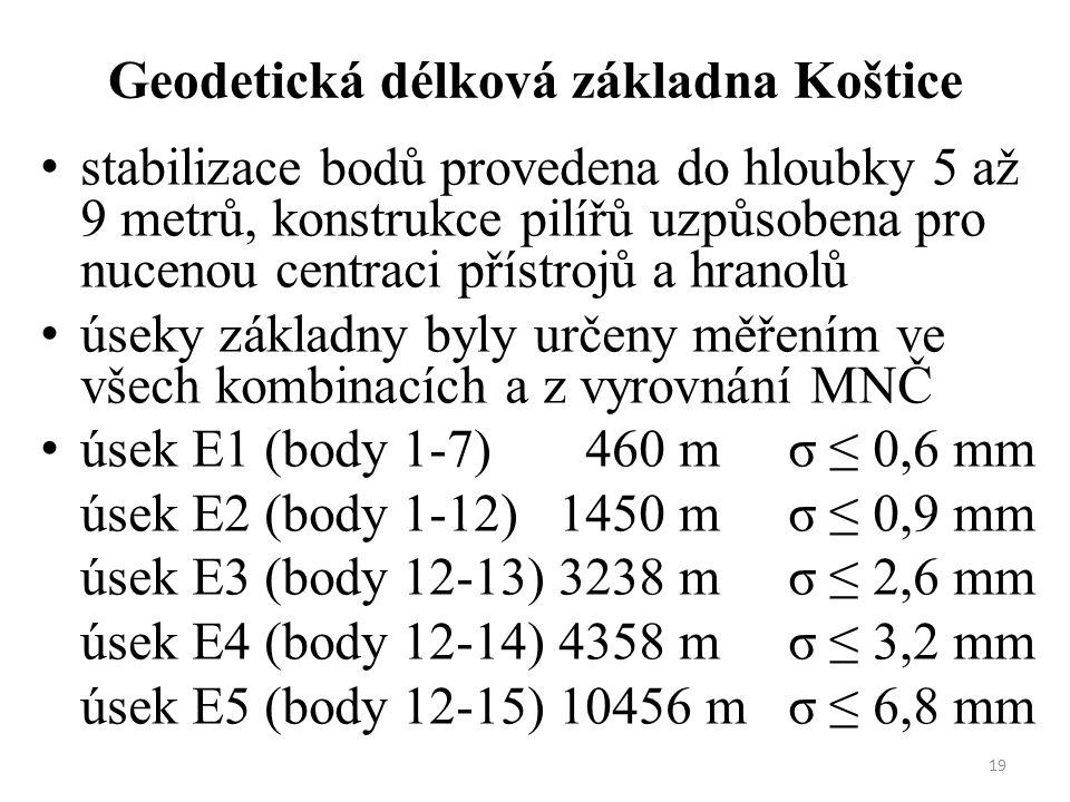 19 Geodetická délková základna Koštice stabilizace bodů provedena do hloubky 5 až 9 metrů, konstrukce pilířů uzpůsobena pro nucenou centraci přístrojů