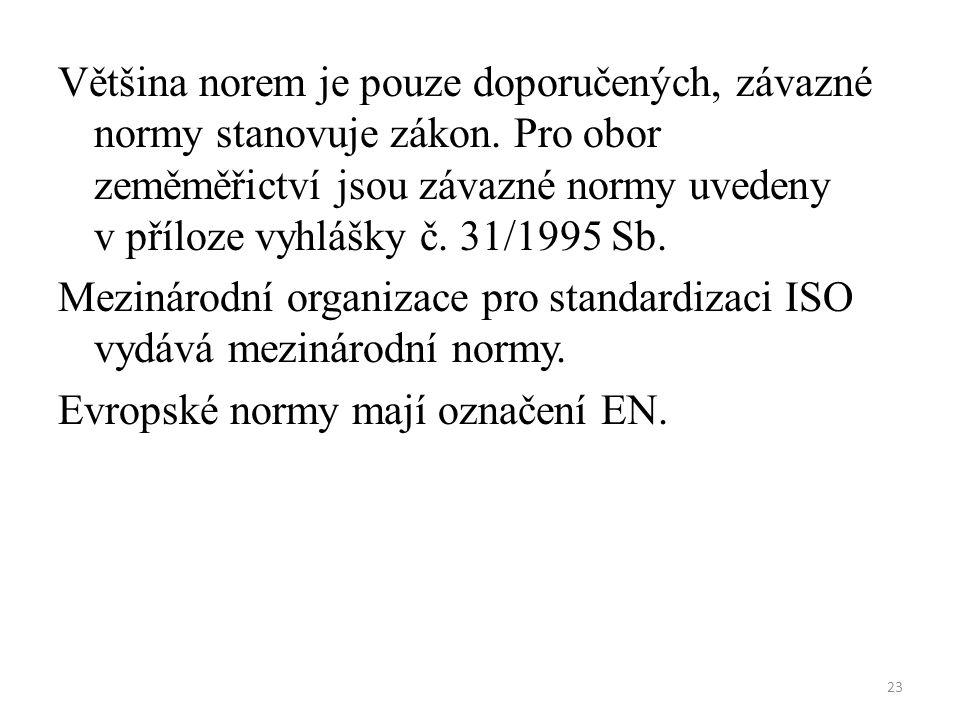 23 Většina norem je pouze doporučených, závazné normy stanovuje zákon. Pro obor zeměměřictví jsou závazné normy uvedeny v příloze vyhlášky č. 31/1995