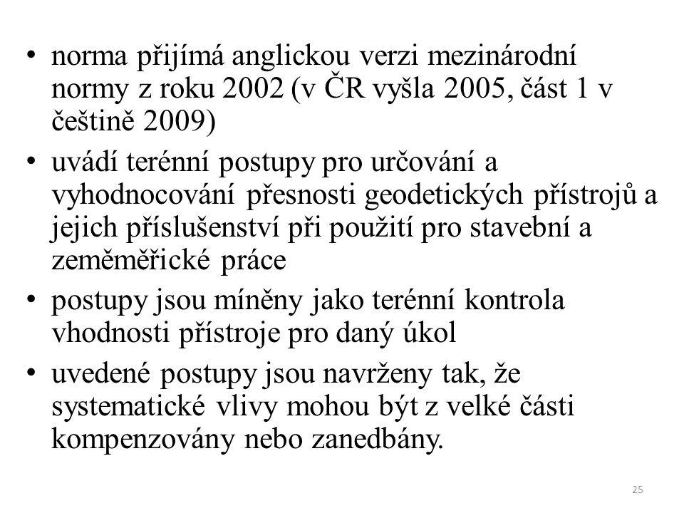 25 norma přijímá anglickou verzi mezinárodní normy z roku 2002 (v ČR vyšla 2005, část 1 v češtině 2009) uvádí terénní postupy pro určování a vyhodnoco