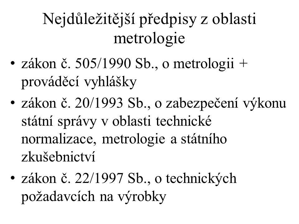 Nejdůležitější předpisy z oblasti metrologie zákon č. 505/1990 Sb., o metrologii + prováděcí vyhlášky zákon č. 20/1993 Sb., o zabezpečení výkonu státn