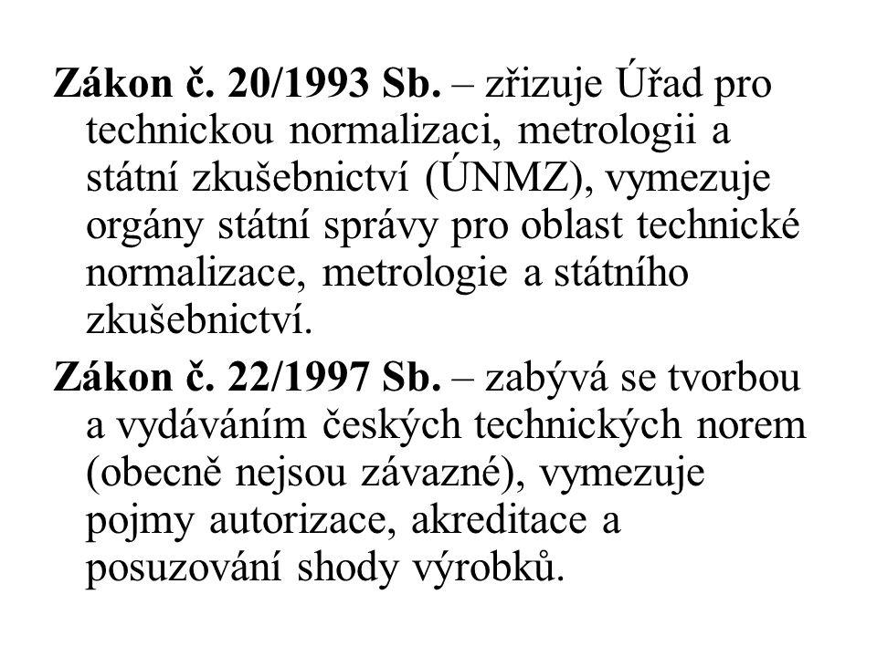 Zákon č. 20/1993 Sb. – zřizuje Úřad pro technickou normalizaci, metrologii a státní zkušebnictví (ÚNMZ), vymezuje orgány státní správy pro oblast tech