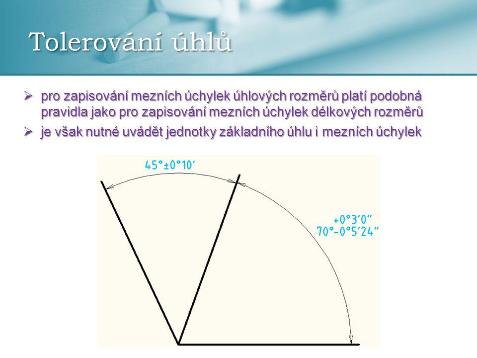 Tolerování úhlů  pro zapisování mezních úchylek úhlových rozměrů platí podobná pravidla jako pro zapisování mezních úchylek délkových rozměrů  je vš