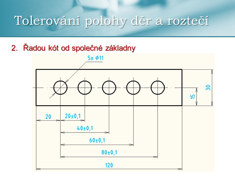 Tolerování polohy děr a roztečí Kótování a tolerování děr ležících na roztečné kružnici: 1.Při pravidelném rozložení děr na roztečné kružnici se kótuje a toleruje jen jedna úhlová rozteč