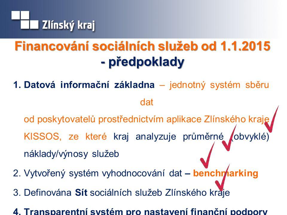 Financování sociálních služeb od 1.1.2015 - předpoklady 1.Datová informační základna – jednotný systém sběru dat od poskytovatelů prostřednictvím aplikace Zlínského kraje KISSOS, ze které kraj analyzuje průměrné (obvyklé) náklady/výnosy služeb 2.Vytvořený systém vyhodnocování dat – benchmarking 3.Definována Sít sociálních služeb Zlínského kraje 4.Transparentní systém pro nastavení finanční podpory