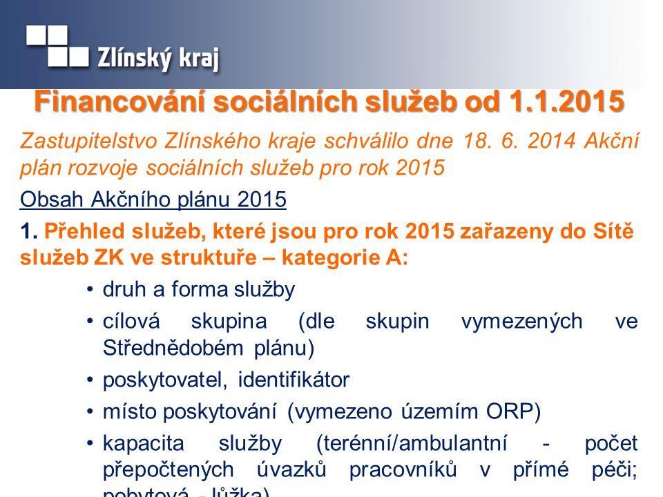 Financování sociálních služeb od 1.1.2015 Zastupitelstvo Zlínského kraje schválilo dne 18.
