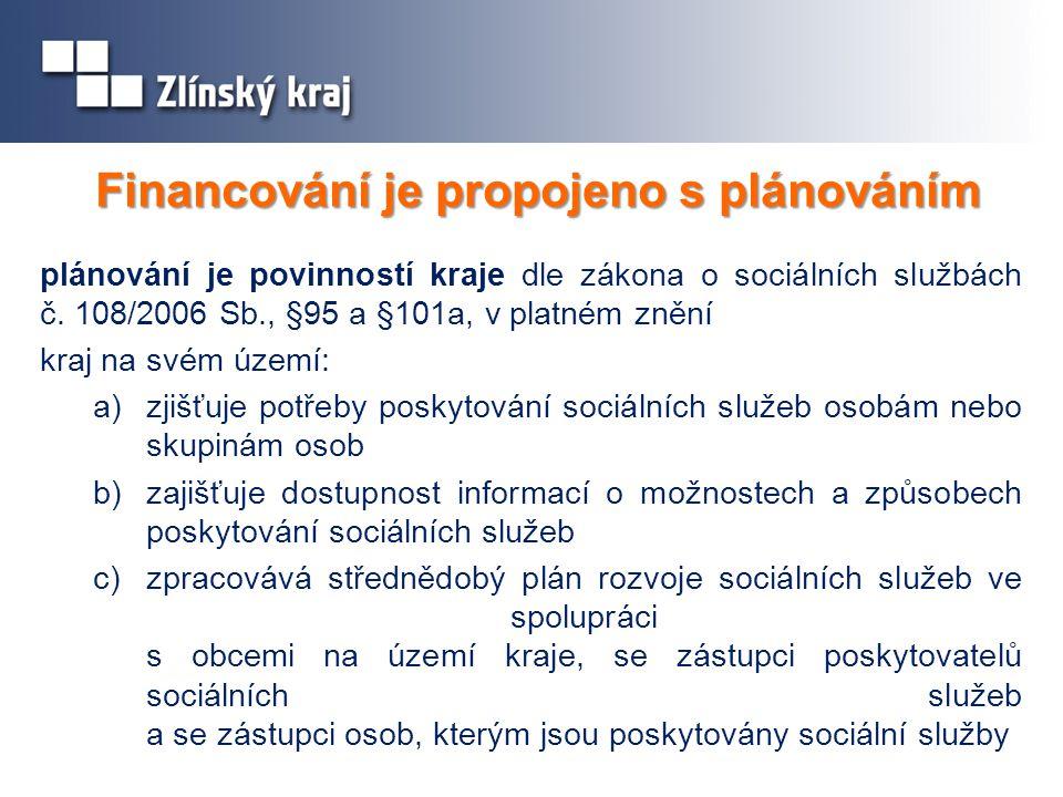 Financování je propojeno s plánováním plánování je povinností kraje dle zákona o sociálních službách č.