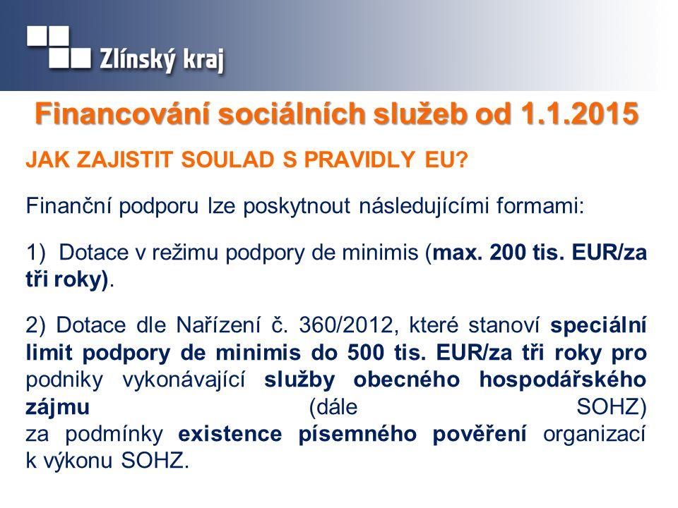 Financování sociálních služeb od 1.1.2015 JAK ZAJISTIT SOULAD S PRAVIDLY EU.