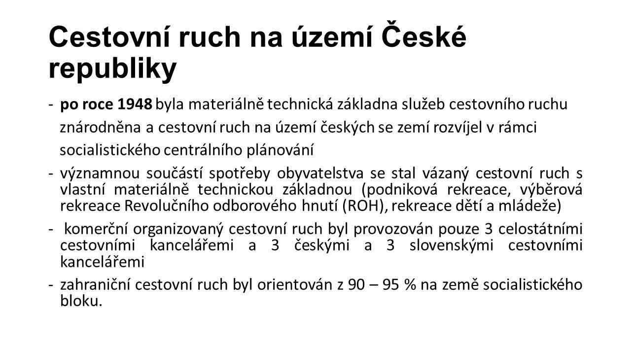 Cestovní ruch na území České republiky -po roce 1948 byla materiálně technická základna služeb cestovního ruchu znárodněna a cestovní ruch na území če