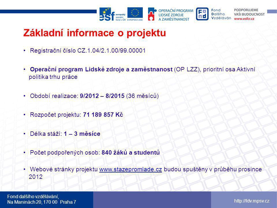 Fond dalšího vzdělávání, Na Maninách 20, 170 00 Praha 7 http://fdv.mpsv.cz Registrační číslo CZ.1.04/2.1.00/99.00001 Operační program Lidské zdroje a