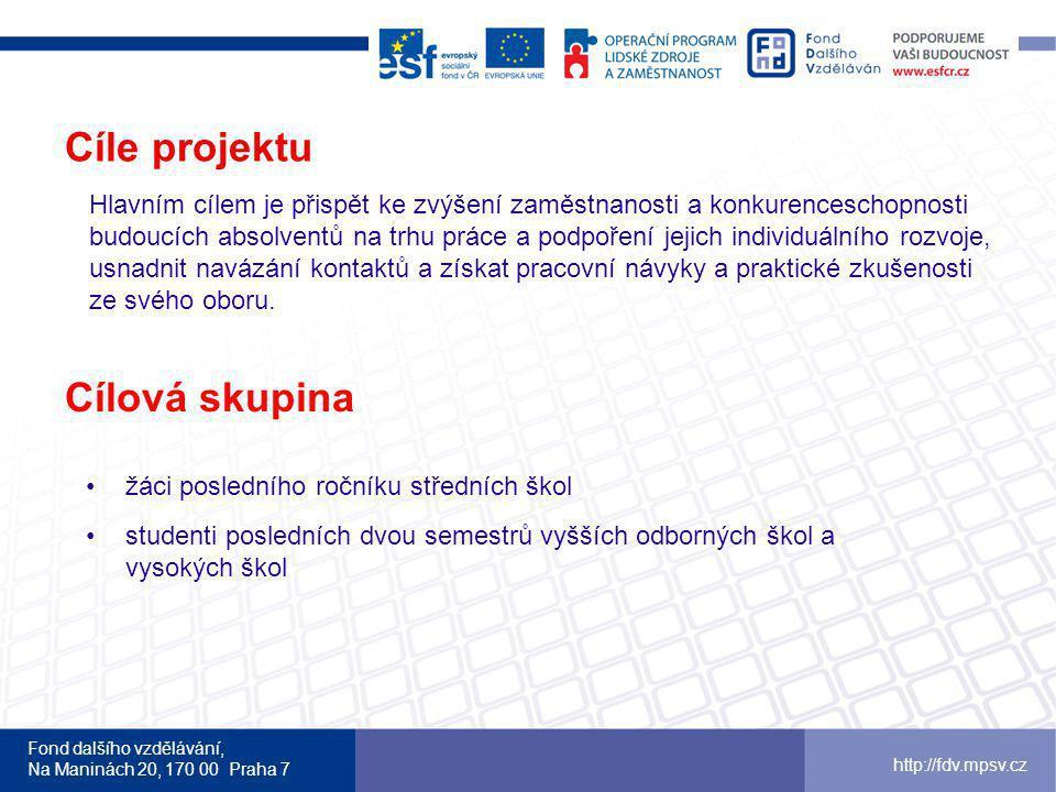 Fond dalšího vzdělávání, Na Maninách 20, 170 00 Praha 7 http://fdv.mpsv.cz Cíle projektu Hlavním cílem je přispět ke zvýšení zaměstnanosti a konkurenc