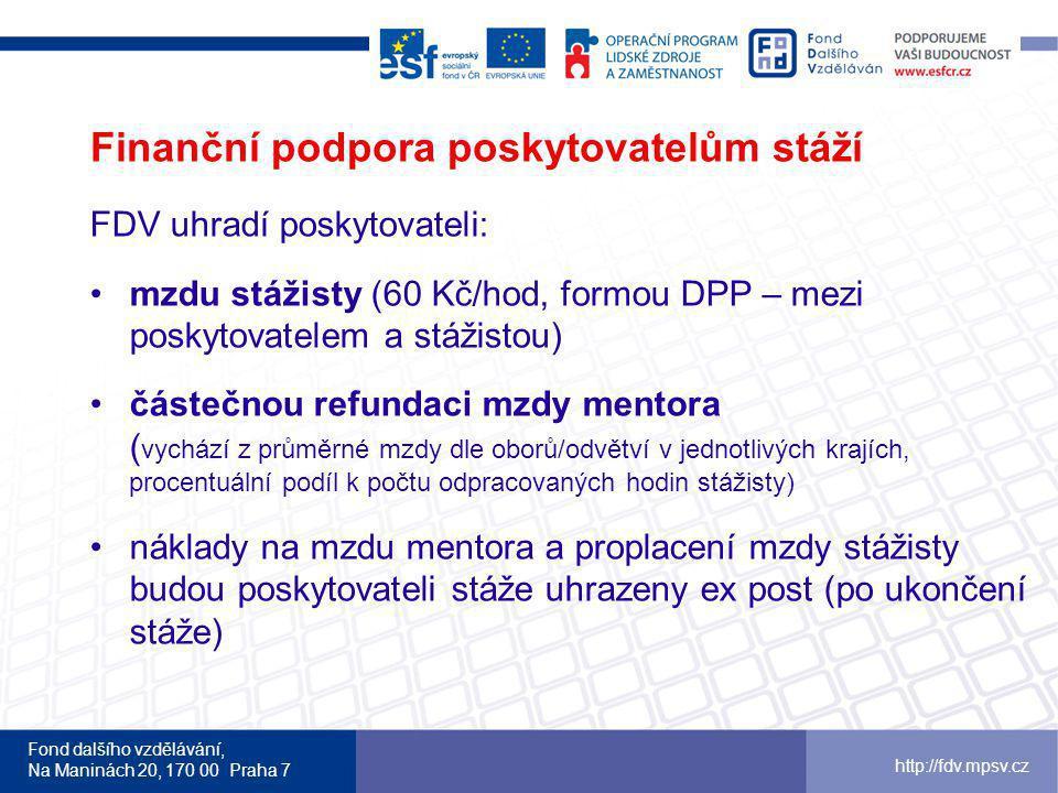 Fond dalšího vzdělávání, Na Maninách 20, 170 00 Praha 7 http://fdv.mpsv.cz Finanční podpora poskytovatelům stáží FDV uhradí poskytovateli: mzdu stážis