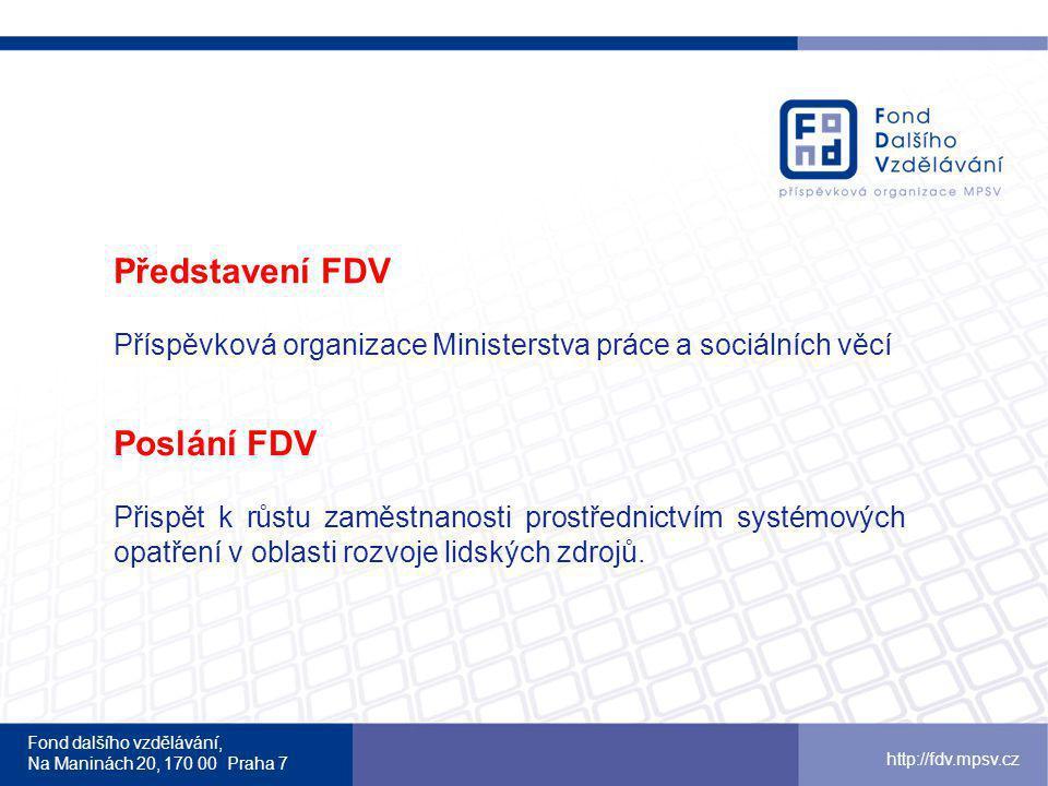 Fond dalšího vzdělávání, Na Maninách 20, 170 00 Praha 7 http://fdv.mpsv.cz Finanční podpora poskytovatelům stáží FDV uhradí poskytovateli: mzdu stážisty (60 Kč/hod, formou DPP – mezi poskytovatelem a stážistou) částečnou refundaci mzdy mentora ( vychází z průměrné mzdy dle oborů/odvětví v jednotlivých krajích, procentuální podíl k počtu odpracovaných hodin stážisty) náklady na mzdu mentora a proplacení mzdy stážisty budou poskytovateli stáže uhrazeny ex post (po ukončení stáže)