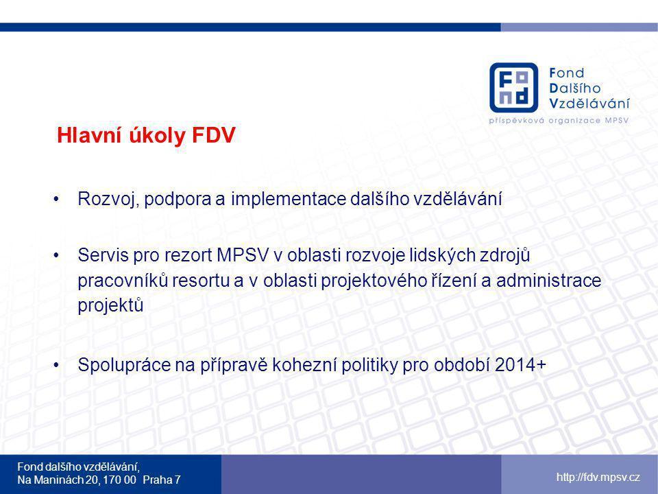 Fond dalšího vzdělávání, Na Maninách 20, 170 00 Praha 7 http://fdv.mpsv.cz Hlavní úkoly FDV Rozvoj, podpora a implementace dalšího vzdělávání Servis p