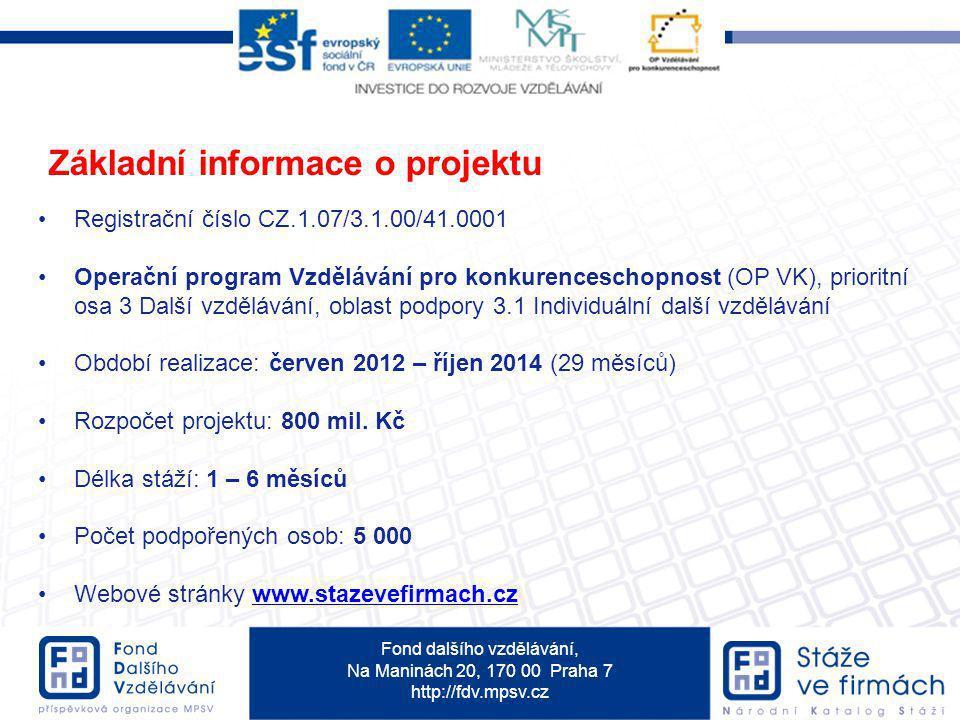 Fond dalšího vzdělávání, Na Maninách 20, 170 00 Praha 7 http://fdv.mpsv.cz Základní informace o projektu Registrační číslo CZ.1.07/3.1.00/41.0001 Oper