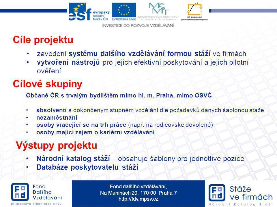 Fond dalšího vzdělávání, Na Maninách 20, 170 00 Praha 7 http://fdv.mpsv.cz Cíle projektu zavedení systému dalšího vzdělávání formou stáží ve firmách v