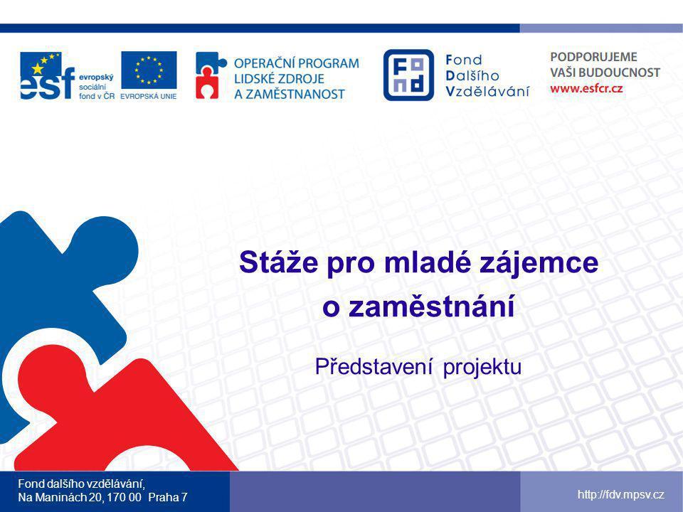 Fond dalšího vzdělávání, Na Maninách 20, 170 00 Praha 7 http://fdv.mpsv.cz Registrační číslo CZ.1.04/2.1.00/99.00001 Operační program Lidské zdroje a zaměstnanost (OP LZZ), prioritní osa Aktivní politika trhu práce Období realizace: 9/2012 – 8/2015 (36 měsíců) Rozpočet projektu: 71 189 857 Kč Délka stáží: 1 – 3 měsíce Počet podpořených osob: 840 žáků a studentů Webové stránky projektu www.stazepromlade.cz budou spuštěny v průběhu prosince 2012www.stazepromlade.cz Základní informace o projektu