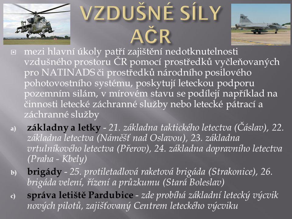  mezi hlavní úkoly patří zajištění nedotknutelnosti vzdušného prostoru ČR pomocí prostředků vyčleňovaných pro NATINADS či prostředků národního posilo