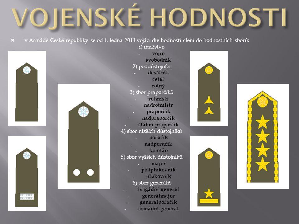  v Armádě České republiky se od 1. ledna 2011 vojáci dle hodností člení do hodnostních sborů: 1 ) mužstvo - vojín - svobodník 2) poddůstojníci - desá