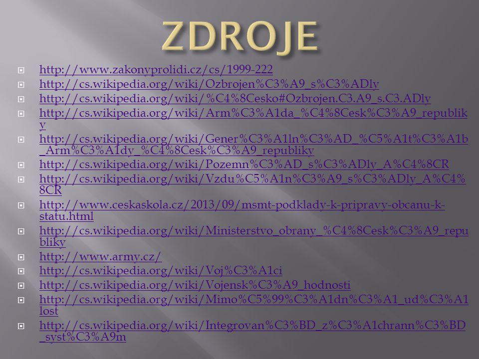  http://www.zakonyprolidi.cz/cs/1999-222 http://www.zakonyprolidi.cz/cs/1999-222  http://cs.wikipedia.org/wiki/Ozbrojen%C3%A9_s%C3%ADly http://cs.wi