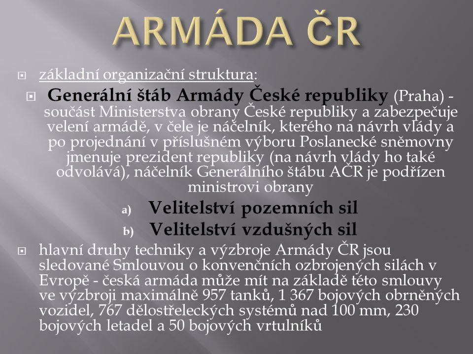  základní organizační struktura:  Generální štáb Armády České republiky (Praha) - součást Ministerstva obrany České republiky a zabezpečuje velení a