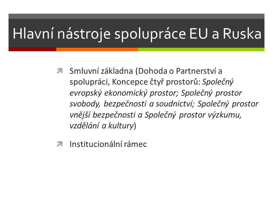 Hlavní nástroje spolupráce EU a Ruska  Smluvní základna (Dohoda o Partnerství a spolupráci, Koncepce čtyř prostorů: Společný evropský ekonomický prostor; Společný prostor svobody, bezpečnosti a soudnictví; Společný prostor vnější bezpečnosti a Společný prostor výzkumu, vzdělání a kultury)  Institucionální rámec