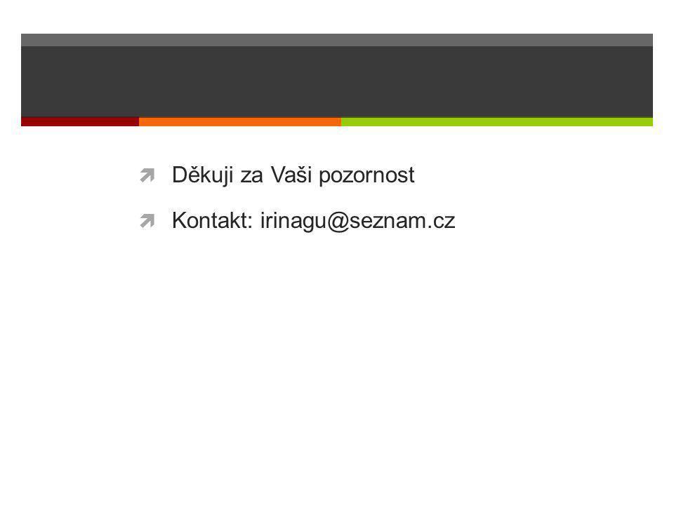  Děkuji za Vaši pozornost  Kontakt: irinagu@seznam.cz